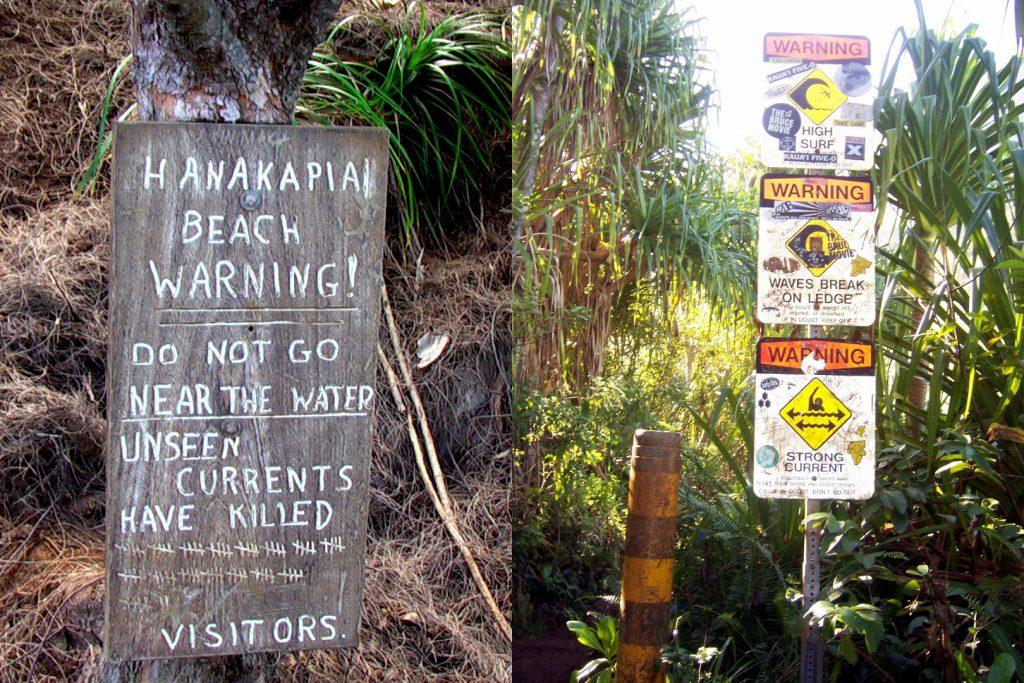 Warnhinweise am Strand von Hanakapiai